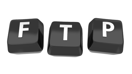 FTP written in white on black computer keys  3d illustration  Isolated background Stock Illustration - 16441512