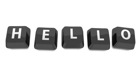 HELLO written in white on black computer keys  3d illustration  Isolated background