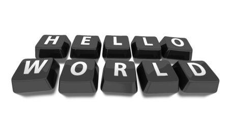 HELLO WORLD written in white on black computer keys  3d illustration  Isolated background