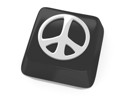 Peace symbol in white on black computer key  3d illustration  Isolated background