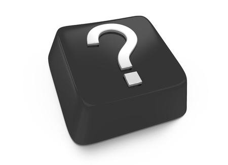 Question mark in white on black computer key  3d illustration  Isolated background Stock Illustration - 16441522