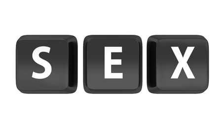 SEX written in white on black computer keys  3d illustration  Isolated background  Stock Illustration - 16441510