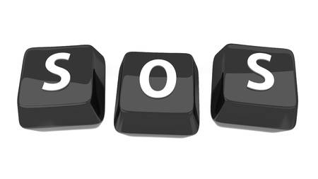 SOS written in white on black computer keys  3d illustration  Isolated background