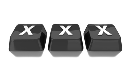 XXX written in white on black computer keys  3d illustration  Isolated background  Stock Photo