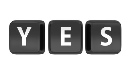 YES written in white on black computer keys  3d illustration  Isolated background Stock Illustration - 16441508
