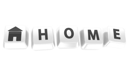 HOME written in black on white computer keys with a house icon  3d illustration  Isolated background Stock Illustration - 16464553