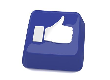 Thumb up icon in white on blue computer key  3d illustration  Isolated background Stock Illustration - 16464550