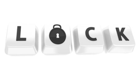 LOCK written in black on white computer keys with a lock icon  3d illustration  Isolated background  Stock Illustration - 16464558