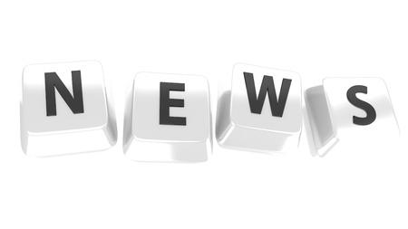 NEWS written in black on white computer keys  3d illustration  Isolated background
