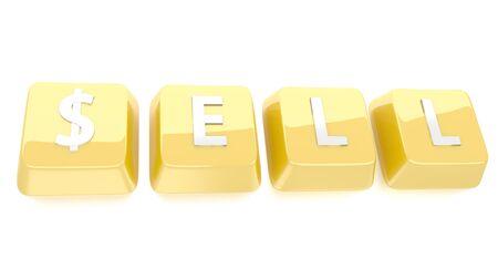 SELL written in white on golden computer keys  3d illustration  Isolated background