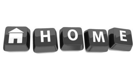 HOME written in white on black computer keys with a house icon  3d illustration  Isolated background  Standard-Bild