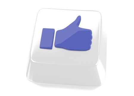 Thumb up icon in blue on white computer key  3d illustration  Isolated background  illustration