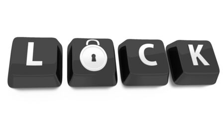 LOCK written in white on black computer keys with a lock icon  3d illustration  Isolated background