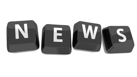 latest news: NEWS written in white on black computer keys  3d illustration  Isolated background  Stock Photo