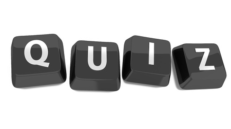 QUIZ �crit en blanc sur fond noir touches de l'ordinateur 3d illustration isol�e Banque d'images