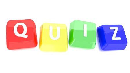 QUIZ �crit en blanc sur les touches de l'ordinateur rouge, jaune, vert et bleu 3d illustration de fond isol�