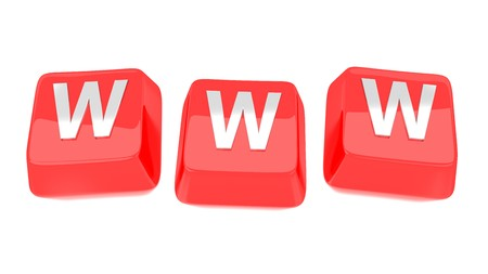WWW written in white on red computer keys  3d illustration  Isolated background