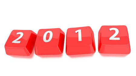 2012 written in white on red computer keys. 3d illustration. Isolated background.