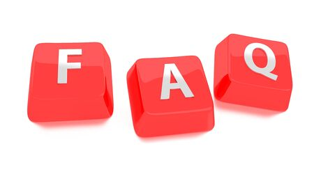 FAQ written in white on red computer keys  Frequently Asked Questions  3d illustration  Isolated background  Standard-Bild