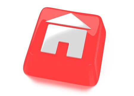 Home icon in white on red computer key  House icon  3d illustration  Isolated background