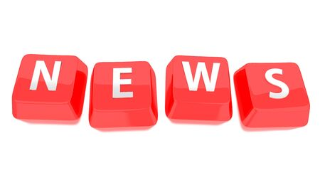 NEWS written in white on red computer keys  3d illustration  Isolated background