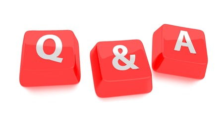 Q A written in white on red computer keys  3d illustration  Isolated background  Standard-Bild