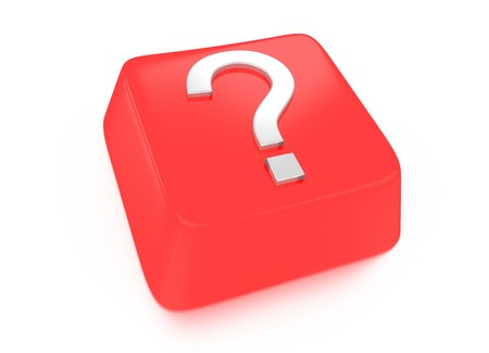 Question mark in white on red computer key  3d illustration  Isolated background  illustration