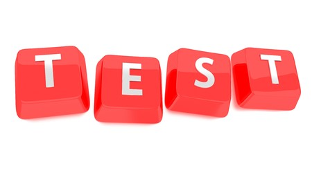 Test �crit en blanc sur une touche du clavier rouges 3d illustration fond isol�