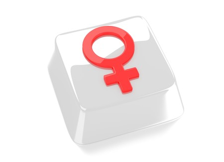 Venus symbol in red on white computer key  3d illustration  Isolated background  Standard-Bild