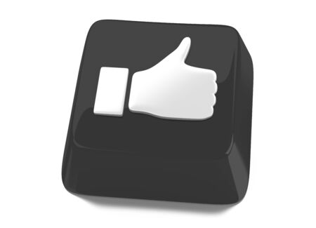 Thumb up in white on black computer key  3d illustration  Isolated background