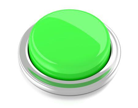 Blank green push button  3d illustration  Isolated background  Reklamní fotografie