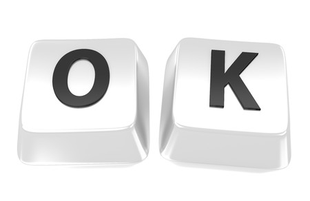OK written in black on white computer keys  3d illustration  Isolated background