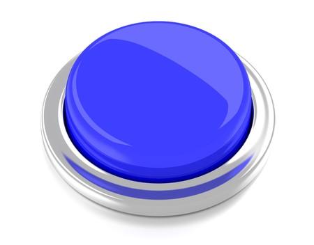Bouton-poussoir blanc bleu 3d fond illustration isol� Banque d'images