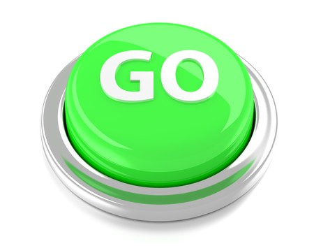 GO on green push button  3d illustration  Isolated background  Stock Photo