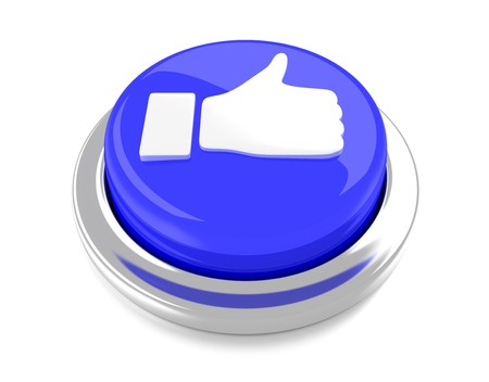 Thump Up on blue push button  3d illustration  Isolated background