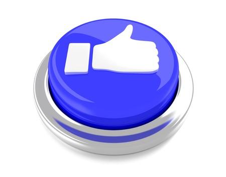 Thump Up sur le bouton-poussoir bleu 3d fond illustration isol�