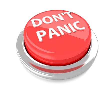 DONT PANIC op de rode drukknop 3d illustratie Geïsoleerde achtergrond Stockfoto - 30508622