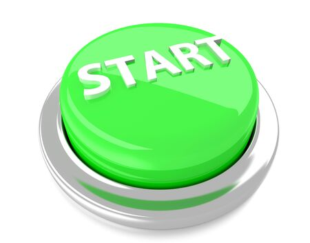 START on green push button  3d illustration  Isolated background