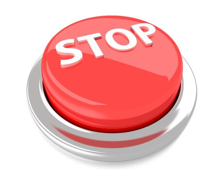 STOP on red push button  3d illustration  Isolated background  Stock Photo