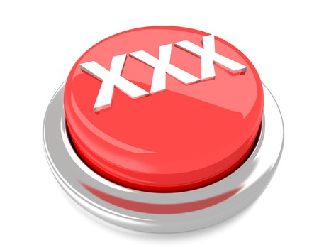 XXX on red push button  3d illustration  Isolated background