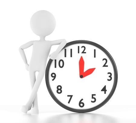 3d personne se penche sur l'horloge qui dit 02 00 Banque d'images