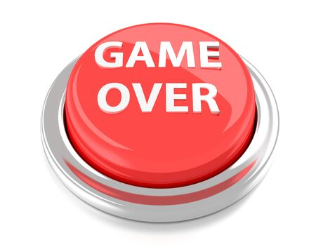 GAME OVER on red push button  3d illustration  Isolated background  Stock Photo