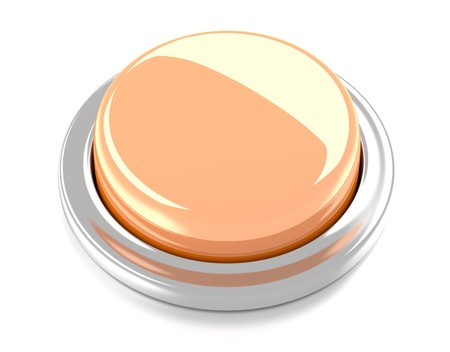 Blank orange push button  3d illustration  Isolated background