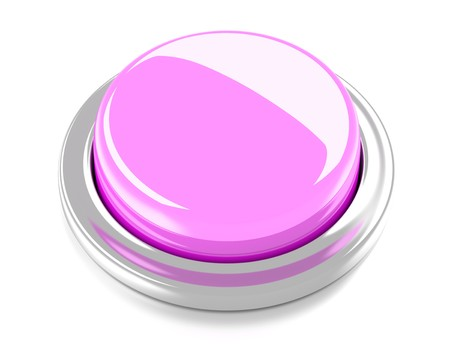 Blank pink push button  3d illustration  Isolated background  Reklamní fotografie