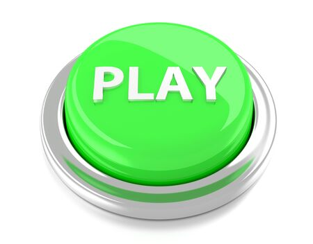 PLAY on green push button  3d illustration  Isolated background