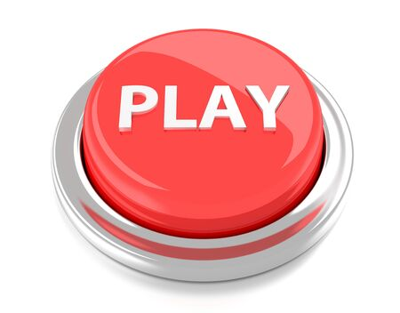 PLAY on red push button  3d illustration  Isolated background  Stock Photo