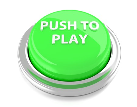 PUSH TO PLAY on green push button  3d illustration  Isolated background  Stock Photo
