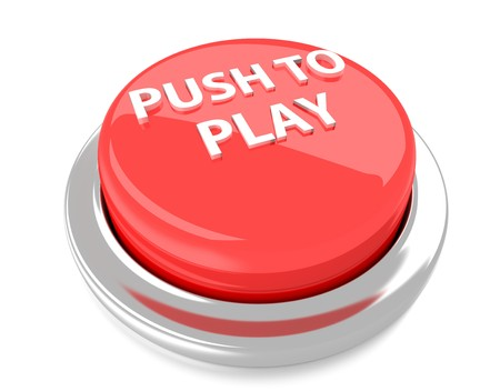 PUSH TO PLAY on red push button  3d illustration  Isolated background