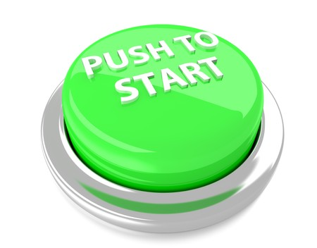 PUSH TO START on green push button  3d illustration  Isolated background  Stock Photo