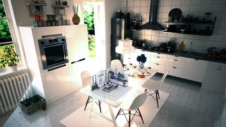 キッチンのインテリア デザイン拡張現実感